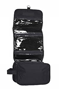 Hanging Toiletry Cosmetics Travel Bag, Black by BAGS FOR LESSTM by Budget Bags Inc