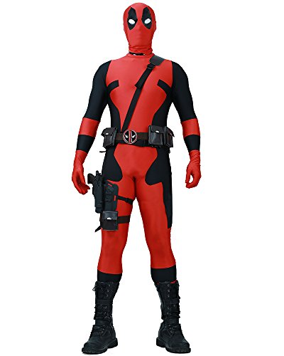 Miccostumes Men's Fullset Deadpool cosplay lycra jumpsuit