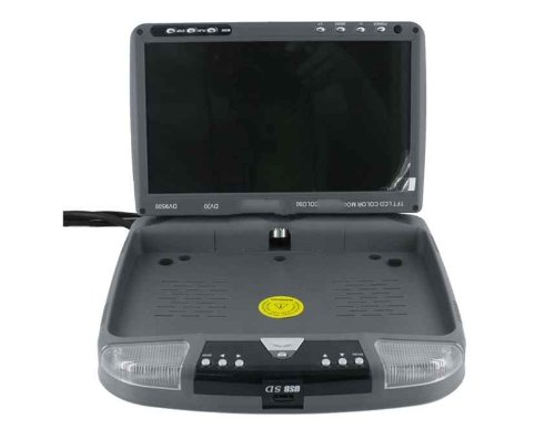 "9"" Tft Lcd Monitor Remote Controlled Roof Mount Car Dvd Player With Usb/Sd Slot (Silver)"