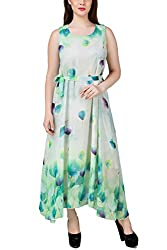 Fasense Women Floral Printed Dress, DR002 (Green Multicolor, Large)