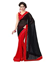 Sourbh Saree Lace Work Black And Red Faux Georgette And Jacquard Best Sarees For Women Party Wear,Karwa Chauth...