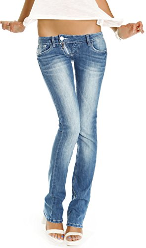 Bestyledberlin Donna Pantaloni Jeans, Low Rise Jeans, signore Slim Fit bootcut, jeans j99a 36/S Blu