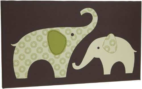 "Carter's Green Elephant Canvas Wall Art-1 Piece 12"" X 21"", Green/Choc, 12 X 12"" (Discontinued by Manufacturer)"