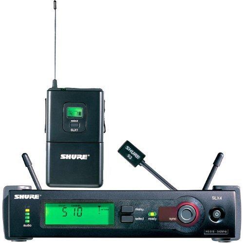 New Shure | Slx14/93-J3 Wireless Microphone System With Slx1 Transmitter, Slx4 Receiver, Wl93 Lavalier Microphone, J3 Band / 572-596 Mhz Frequency Range
