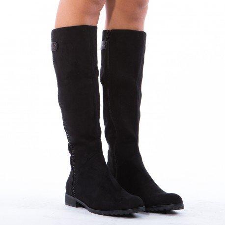 Ideal Shoes-Stivali effetto camoscio Aloana, nero (nero), 37