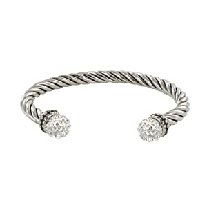 Sterling Silver White Crystal Twist Cable Cuff Bracelet