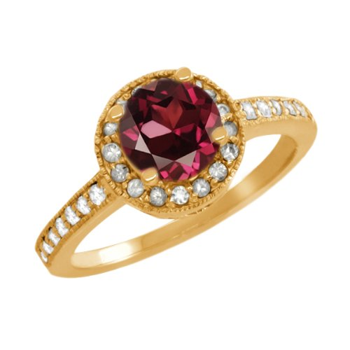 1.30 Ct Round Red Rhodolite Garnet Sapphire Gold Plated Sterling Silver Ring