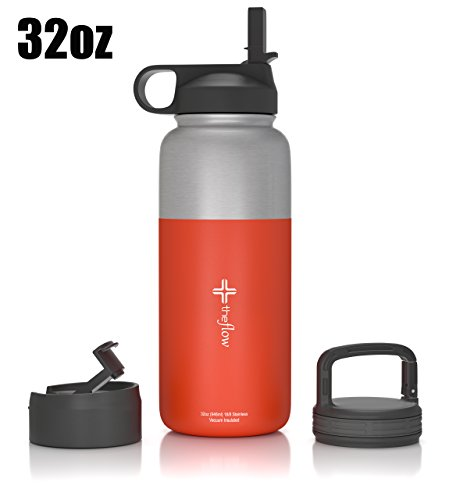 The Flow Stainless Steel Water Bottle, Double Walled/Vacuum Insulated - BPA/Toxin Free - Wide Mouth with Straw Lid (Stainless Red) (Narrow Water Jug compare prices)