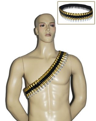 [Bullet Belt Ammo Short 2D Army bandolier Costume Accessory Party Decoration] (Bandolier Belt)