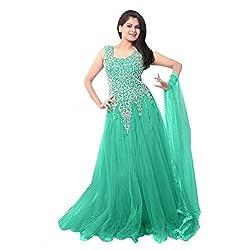 Clickedia Women's Net Semi Stitched Gown (Light Green Net Gown_Light greenFree Size)