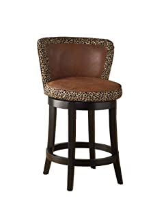 Armen Living Mbs-11 Lisbon 30-Inch Swivel Barstool, Brown Leather
