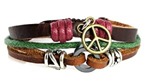 Think Peace Genuine Leather Zen Bracelet - Adjustable, Fits 5, 6, 7, 8 Inches, in Gift Box