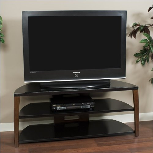Techcraft 50IN Wide Tv Stand Walnut Glass Top