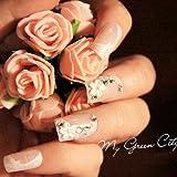 Amazon.co.jp結婚運UP効果♪ ベビーピンク フラワーストーン 風水ネイルチップ24個セット ブライダルチップ