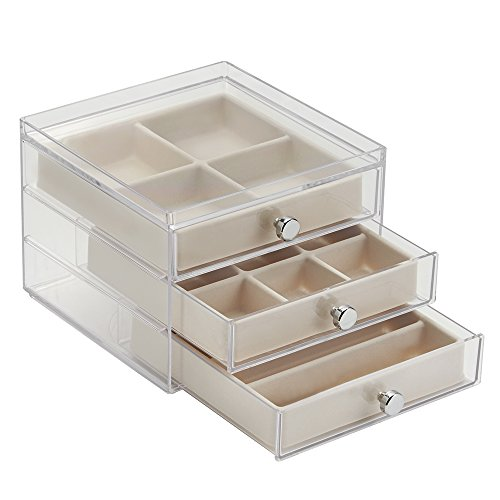 interdesign 3 drawer slim jewelry box clear ivory 081492370307. Black Bedroom Furniture Sets. Home Design Ideas