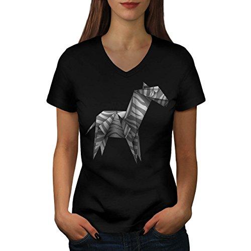 Origami Zebra mestiere Carta Da donna Nuovo Nero M T-Shirt | Wellcoda