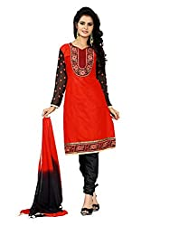 Idha Red Semi-Stitched Solid Salwar Suit For Women