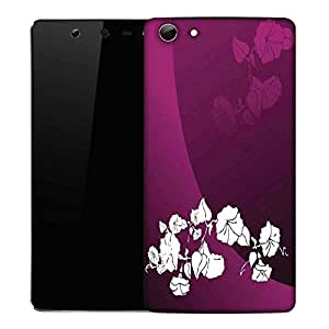 Snoogg abstract vector wallpaper of floral themes in gradient purple Designer Protective Back Case Cover For Micromax Canvas Selfie Q348