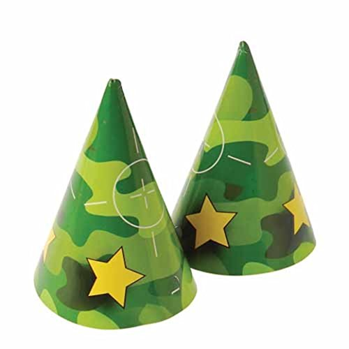 Dozen Camo Camouflage Theme Paper Birthday Party Hats With Chin Straps