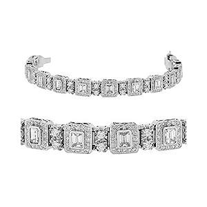 Amazon.com: Diamond Bracelet - Emerald Cut / Round 18k