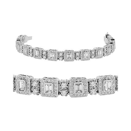 Diamond Bracelet - Emerald Cut / Round 18k White