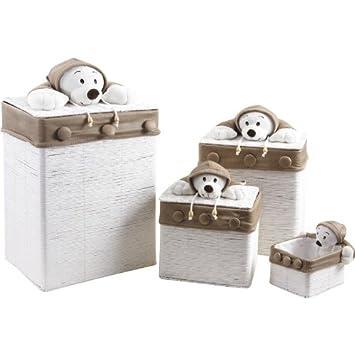 3 coffres à jouets avec peluches ours + 1 corbeille