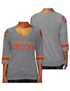 Ladies NFL Kansas City Chiefs #60 3 4 Sleeve Tee by Pink Victoria