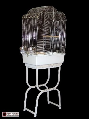 Cheap Posh Pets Casablanca Chrome Bird Cage And Stone Coloured Stand (2506AAA)