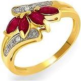 Bague - 181R3369 - 02/9AM - N - Femme - Or jaune (9 carats) 2.15 Gr - Rubis - Diamant 0.12 Cts
