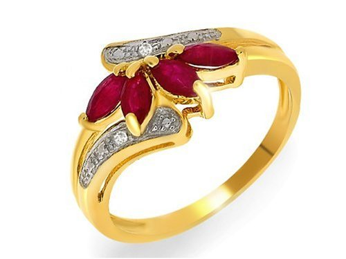 9ct Yellow Gold Ladies' Ruby  &  Diamond Dress Ring Size M