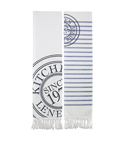 Lene Bjerre 2-Piece Molly Kitchen Towel Set, White/Blue