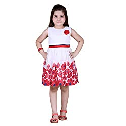 NAVEENS Shiffon Red Round Neck Party wear Dress for Girls