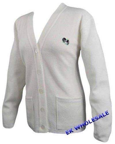 NEW BOWLING LAWN BOWLS LOGO POCKET CARDIGAN WHITE