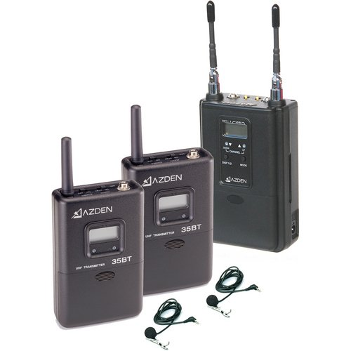AZDEN 330ULT UHF Wireless Combo Microphone System Two Body Pack Transmitter's to One Camera Mountable Receiver includes Two lavalier Mics