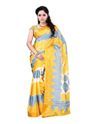 Surat Tex Yellow Crepe Daily Wear Printed Sarees With Blouse Piece-E532SE1001CAS