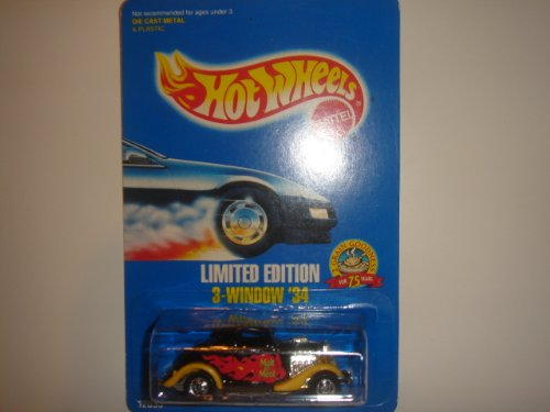 1993 Hot Wheels Limited Edition Malt O Meal 3-Window '34 Black/Yellow/Red