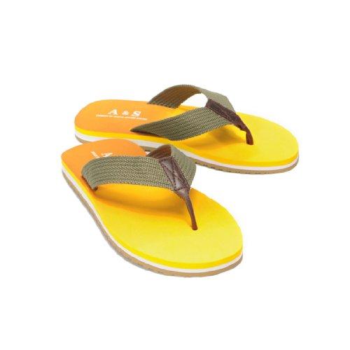 Mens Summer Beach Slippers Wave Foam Letters Detail Faded Flip Flops Yellow US 8