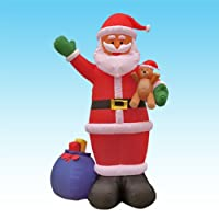 12 Foot Christmas Inflatable Santa Claus Holding Bear + Gift Bag Yard Decoration