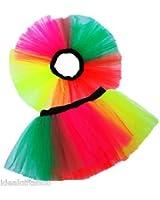 NEON MULTICOLOUR TUTU ORANGE HOT PINK GREEN & YELLOW RAINBOW ONE SIZE FROM 6-14