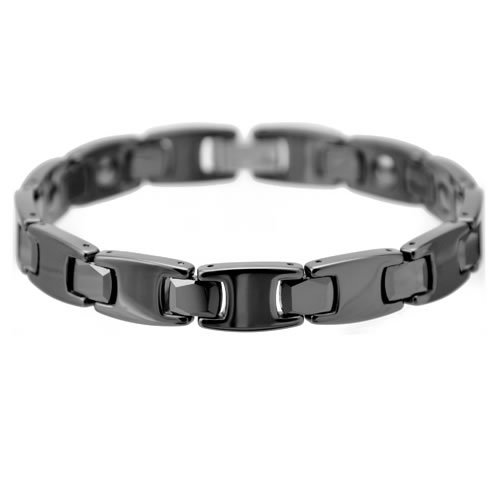 Beautiful Black Zirconia Ceramic Link Bracelet With Magnets