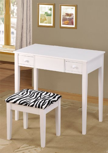 ABC Contemporary Vanity Set with Flip Mirror Top and Zebra Print Stool White Finish