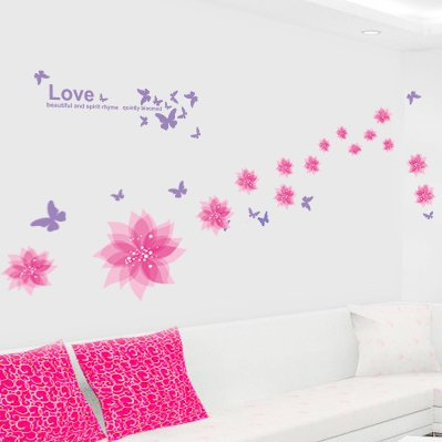 Stylish Cherry Plum Blossom Flowers and Butterflies Wall Stickers Home/Room Decors Mural Art Decals