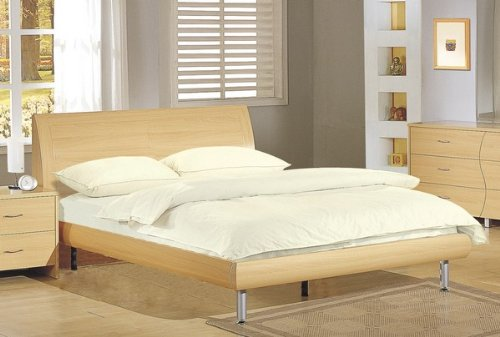 Contemporary Maple Queen Platform Bed with Bed Support