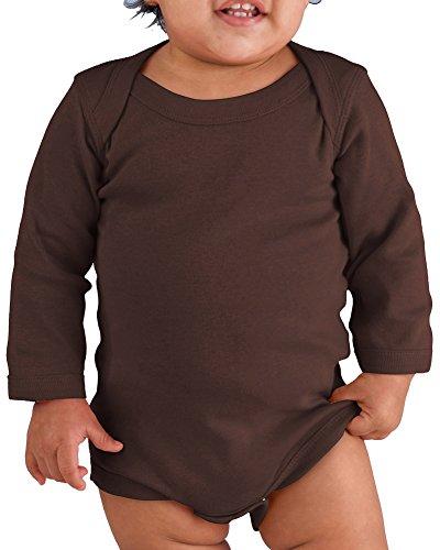 Rabbit Skins Drop Ship Infant Baby Rib Lap Shoulder Long Sleeve Creeper, 18MOS, BROWN