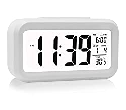 Alarm Clock HeQiao LED Clock Slim Digital Alarm Clock Large Display Travel Alarm Clock with Calendar Battery Operated for Home Office - Withe Temperature Display Snooze Function Smart Back-light