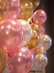 BALLOON JUNCTION Balloons Metallic HD (PINK + WHITE + GOLD) - Pack of 51 - suitable for PRINCESS THEME / ANNIVERSARY / BABY SHOWER PARTY