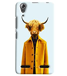 Blue Throat Man With Cow Face Printed Designer Back Cover/Case For Lenovo A6000