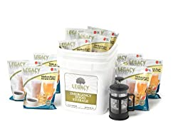 Emergency Survival Ground Coffee Supply - 350 Large Servings for Food Storage - 8 Lbs - Includes French Press - Disaster Preparedness made by Legacy Premium Food Storage