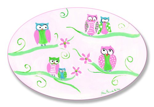 The Kids Room by Stupell Six Green and Pink Owls on Branches Oval Wall Plaque