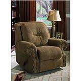Brown Overstuffed Fabric Upholstered ROCKER / RECLINER